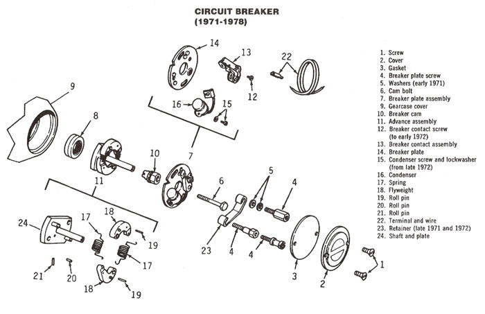 Exploded view, contact breaker assembly, typical Harley Davidson