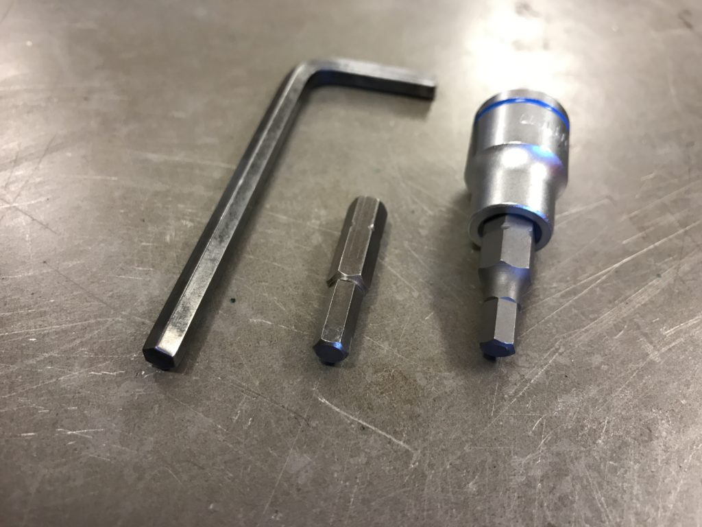 5mm hex key, insert and socket