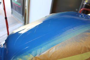 Blue centre stripe painted